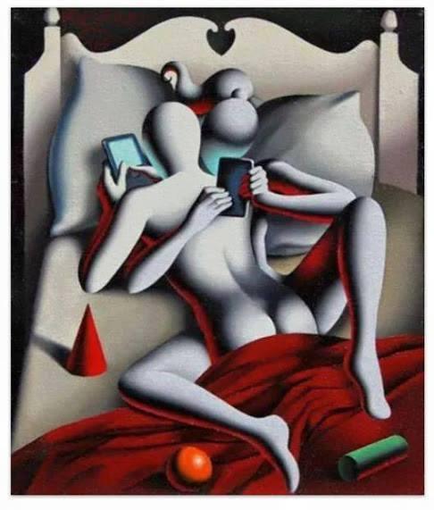 pareja nomofobica en la cama